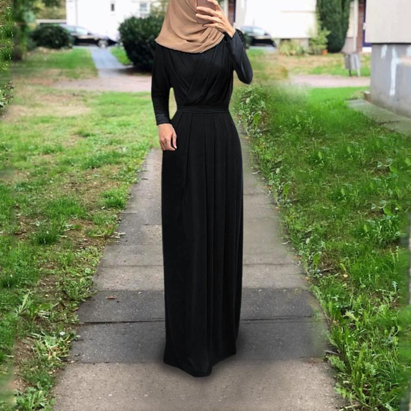 Ropa étnica Dromiya Mujeres Muslimas Cubierta completa Ropa de oración Hijab Long Maxi Vestido Abaya Kaftan Robe Robe Overhead Árabe Middle East Bown Islam