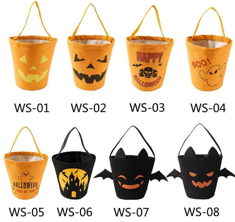 Quality Halloween Candy Bucket Festival Gift Wrap Party Favors Cartoon Pumpkin Vampire Ghost Witch Handbags Canvas Bag Kids Candies Storage Bags