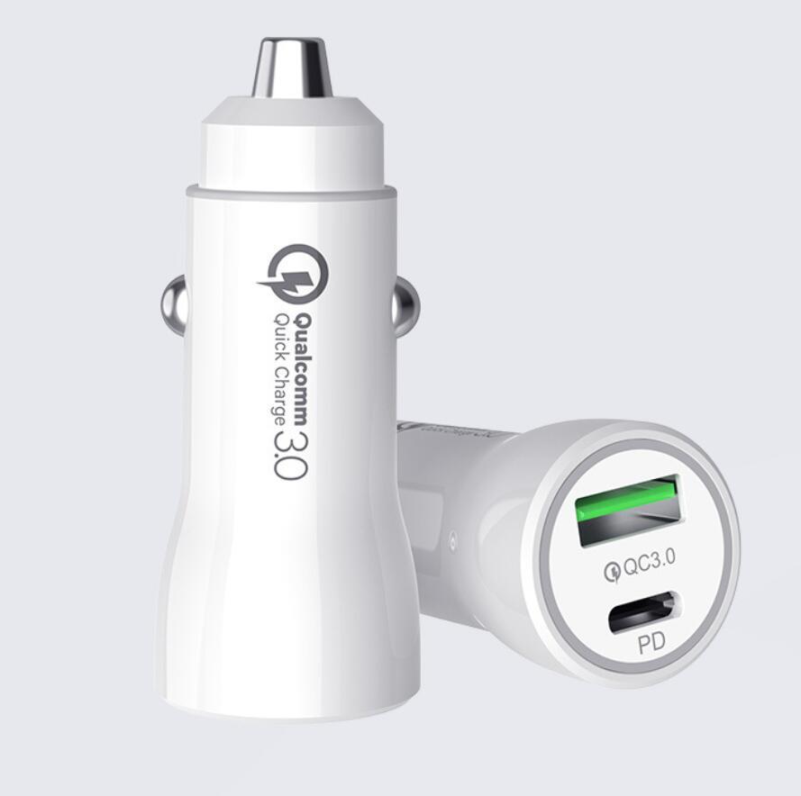 18W USB 빠른 충전기 QC 3.0 3.1A 자동차 빠른 충전 자동 유형 C PD 아이폰 Xioami에 대 한 휴대 전화 충전기