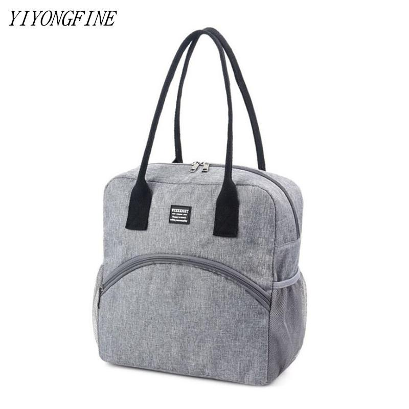 New Tote Fresh Cooler Bags Waterproof Nylon Portable Zipper Thermal Oxford Lunch Bags For Women Convenient Lunch Box Food Bags C0315