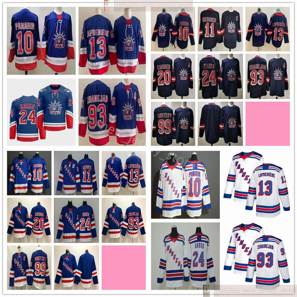 2021 2022 New York Rangers Hockey Jerseys Artemi Panarin Mark Messier Alexis Lafrenier Kaapo Kakko Mika Zibanejad Chris Kreider Shattenkirk