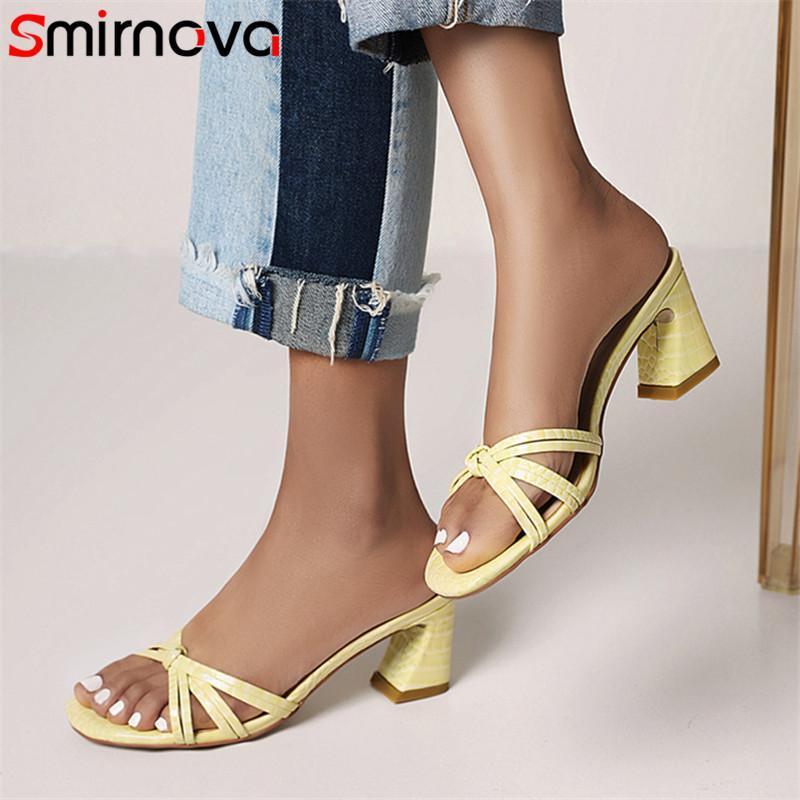 Смирнова горячая распродажа летняя обувь женщин тапочки европейский стиль густые высокие каблуки простые повседневные туфли женщин тапочки большой размер