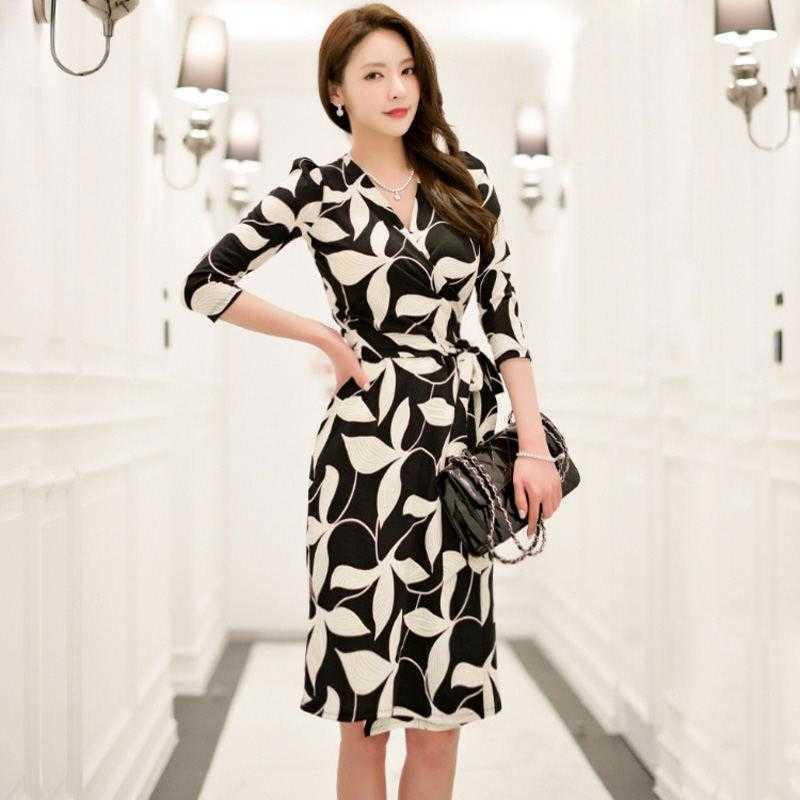 Women Elegant Pencil Office Dress Female Fashion White Black Print Designer Retro Robe Femme Work Wear V-neck Dresses Vestidos Casual