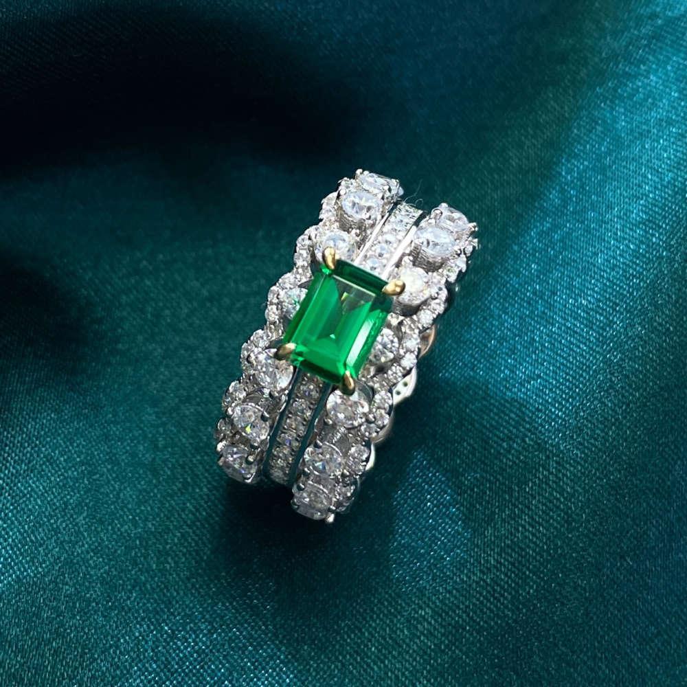 HBP модные кольца классические четыре когтя зеленый бриллиант инкрустирован с роскошным серебро 925 стерлингового серебра