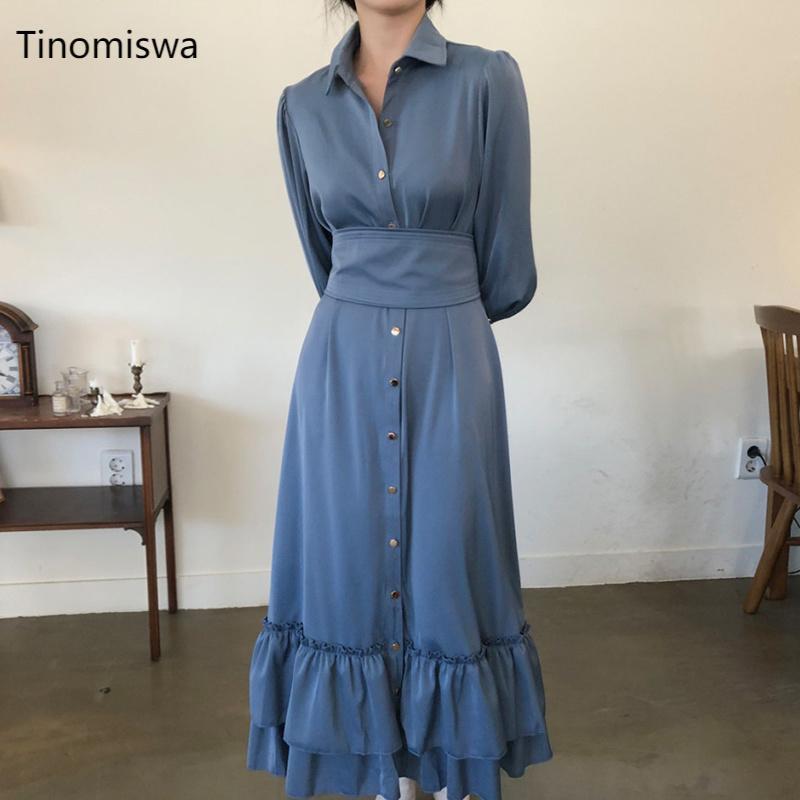 Casual Dresses Elegante Frauen Kleid Korean Chic Umdrehende Kragen Einzweilen Weibliche Mode Slim High Taille Lady Vestidos A085