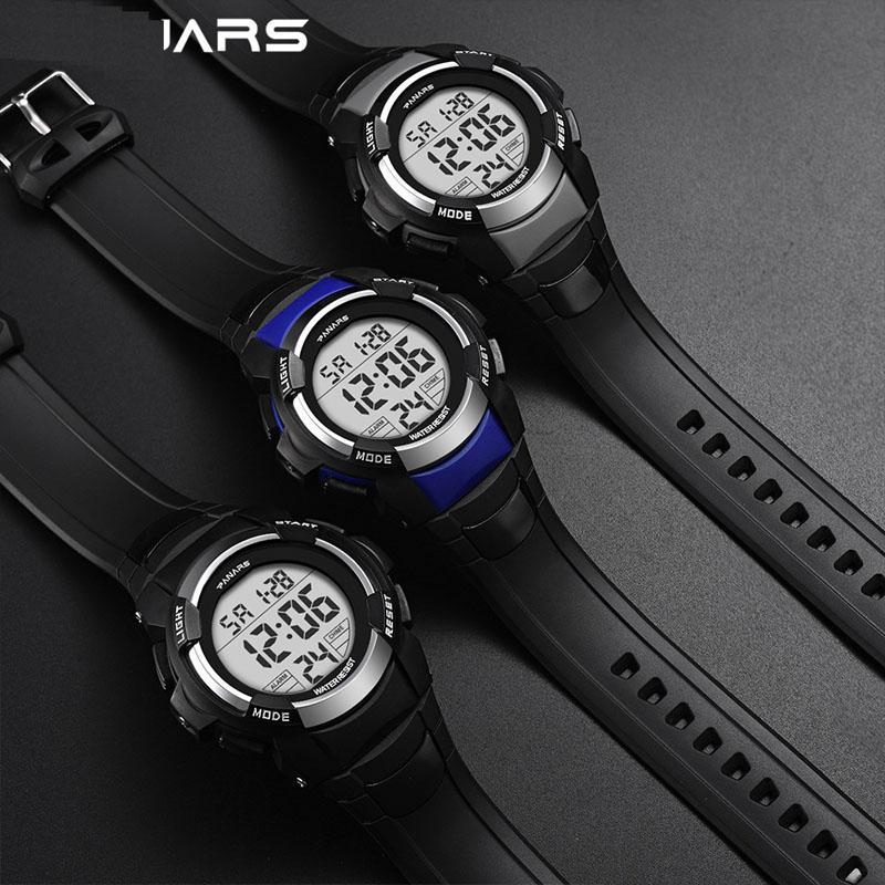 Erkekler Dijital Spor İzle Moda Çalar Saat LED Ekran Durdurma Saatler Su Geçirmez Chronograph Bilek Erkek Izle
