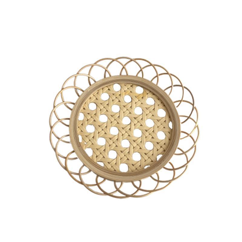 Mats & Pads Natural Bamboo Hollow Tea Cup Placemat Holder Dessert Plate Table Heat Insulation Pot Coasters
