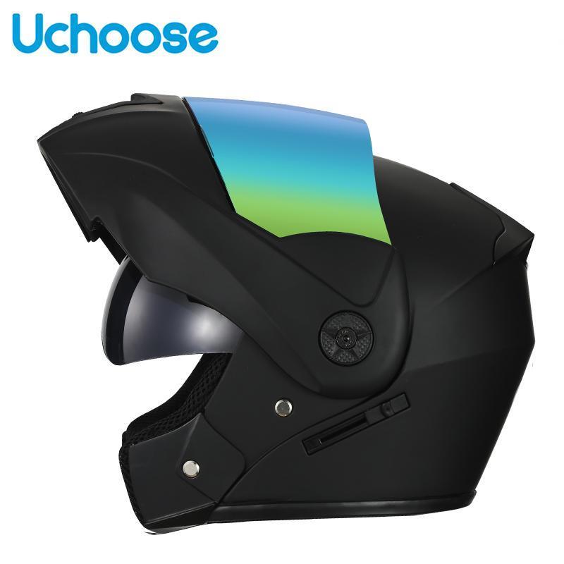 Casques de moto Helmet de moto Flip Up Modular Dual Lens Visières pour adultes Full Face Safe Motocross Helm Casque Moto