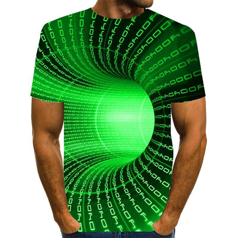 2021 Neue Designer Männer T-Shirt 3D Interessant Time Tunnel Digitaldruck T-Shirt Druck Modische Kurzarm Männer Kleidung