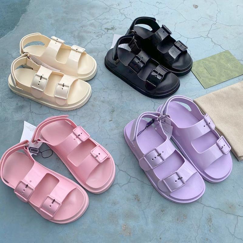 Kadınlar Kauçuk Sandal Mini Çift G Jöle Terlik Bayan Scuffs Terlik Lüks Tasarımcı Sandalet Düz Katır Ayarlanabilir Toka Plaj Çevirme Kutusu No299