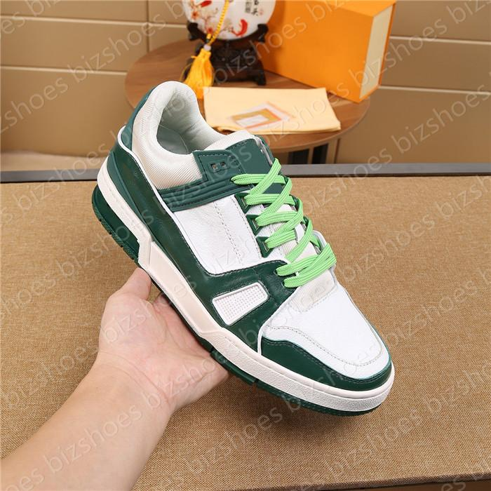 Calafskin Skate Shoes Blanco Negro Verde Cuero Sole Lace-Up Luxurys Designers Sneaker Low-Top Mans Ocio Zapatillas de zapatillas Zapatillas de deporte