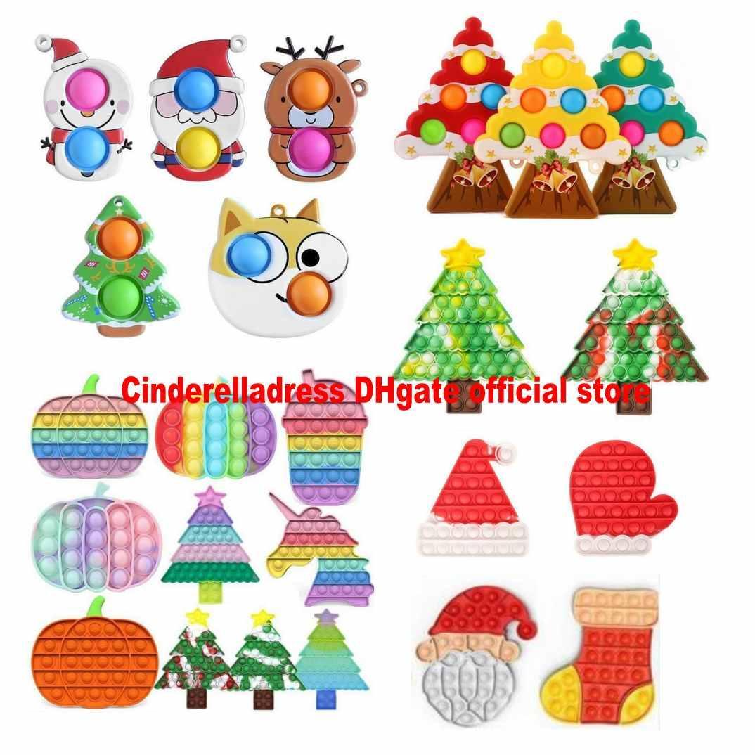 ¡¡¡NUEVO!!! Navidad Fidget Toys Fiesta Favors Empuje la burbuja de Halloween Antistress Dibujos Animados Dibujos Animados Simple Dimple Soft Sensor Regalos Reutilizable Squeeze FAST ENTREGA CY27