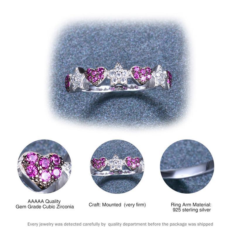 Anillo de piedra roja de rosa de cristal de cristal lindo 100% Real 925 Sterling Striling Star Heart Ring Boho Promise Anillos de compromiso para mujeres