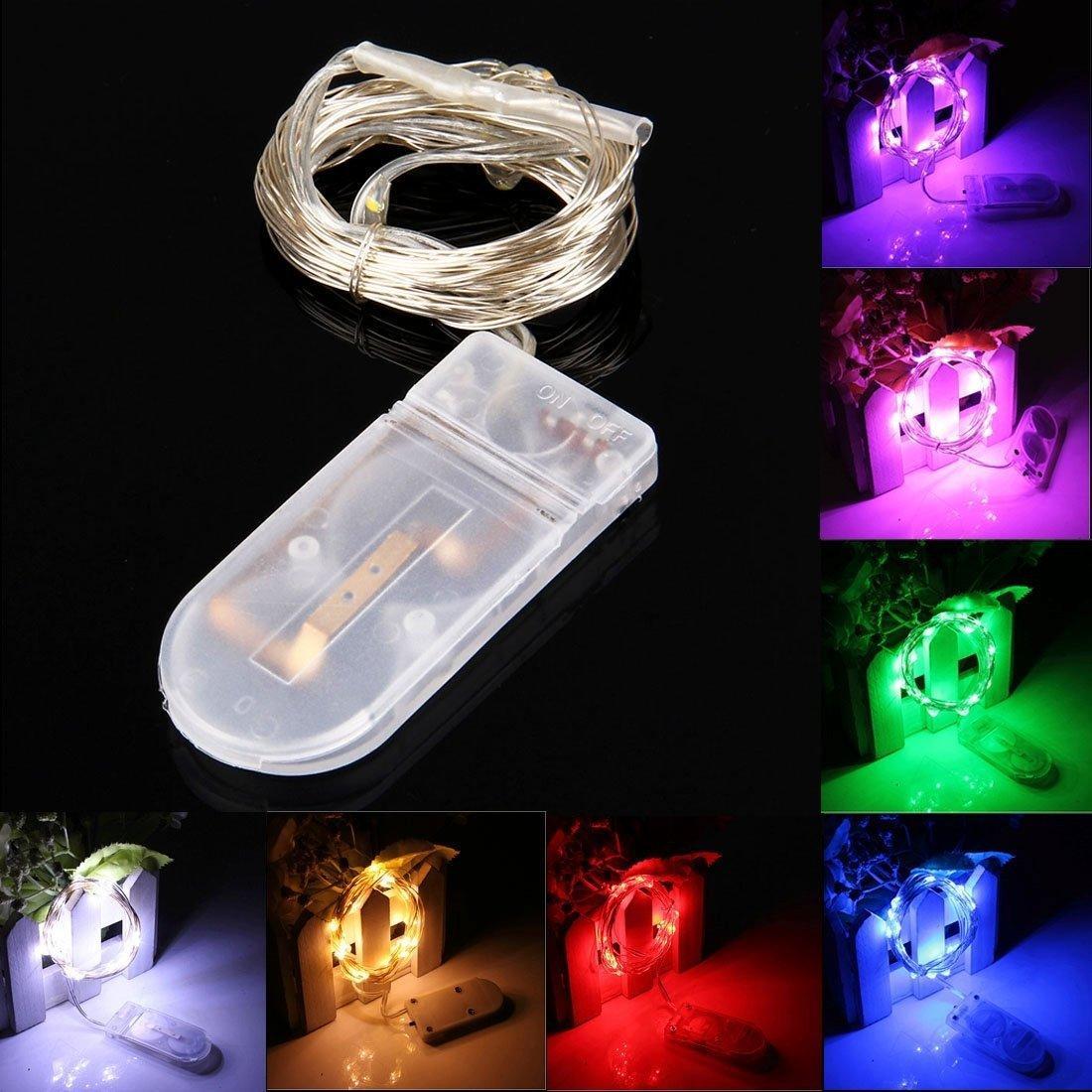 LED Dize Su Geçirmez Peri Işık CR2032 Pil Powered LED Mini Noel Işık Bakır Tel Dize Işık Düğün Xmas Garland Parti için