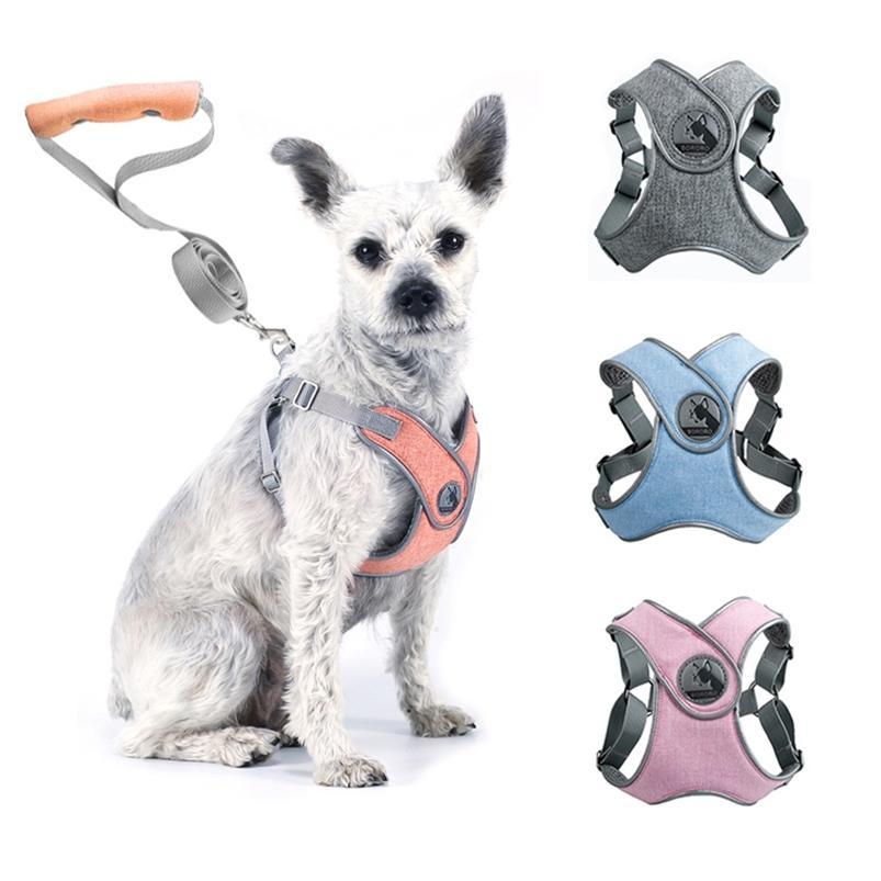 Harnais de chien Drop Dog Vest sans traction Harnais de col de chien réfléchissant pour petits chiens moyens Harnais Harnais gilet chiot chippy chien Bande 210729