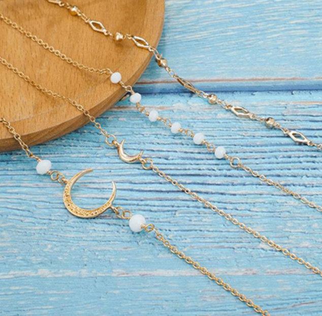 Nuevas mujeres deja vintage hojas de corte nudo diamantes pulsera de cadena de metal europeo enlace de cadena de la capa brazaletes conjunto de joyas de oro G15689