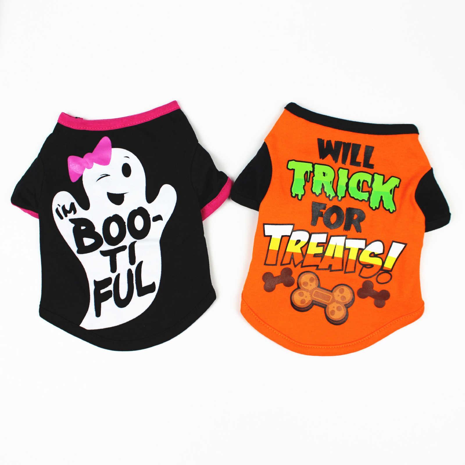 Dog Spring Summer and Cartoon Print T-shirt Teddy Bear Pet Halloween Clothing