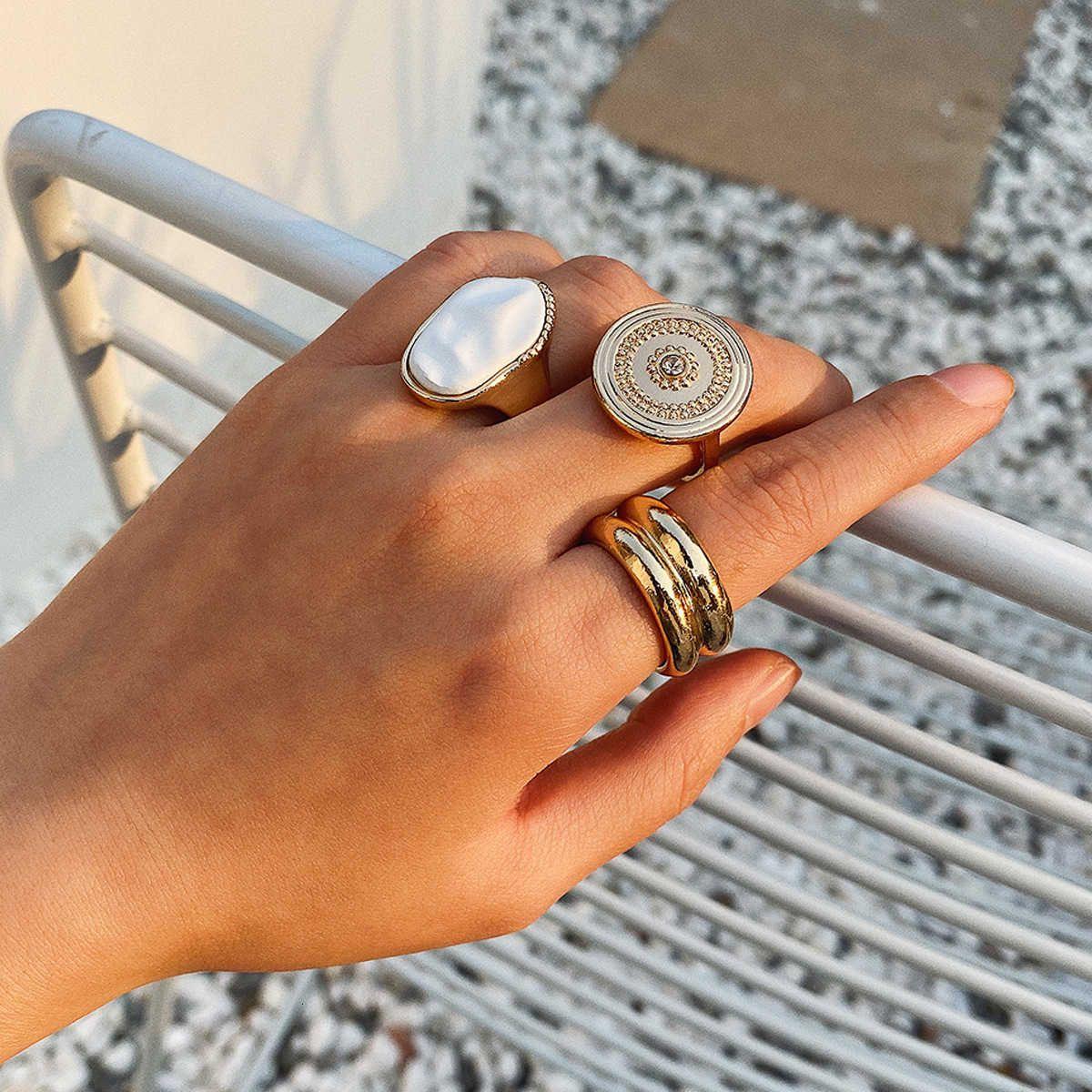 Золотой национальный стиль геометрические кольца украшения