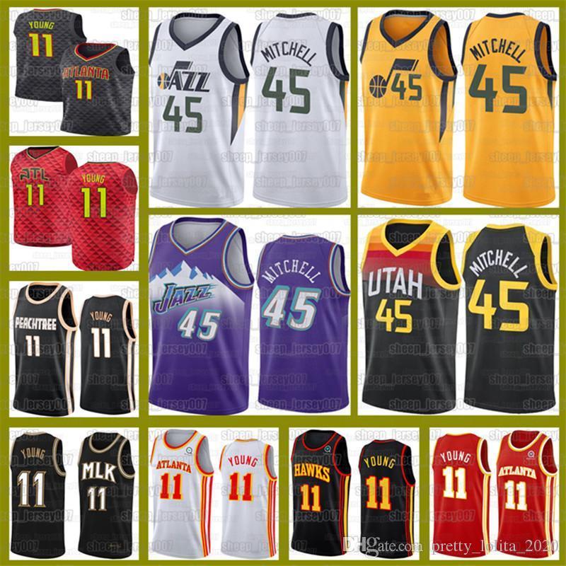 Neue Donovan 45 Mitchell Jerseys Trae 11 Junge Rudy 27 Gobert John 12 Stockton Basketball FalkenJazzKarl 32 Malone Basketball