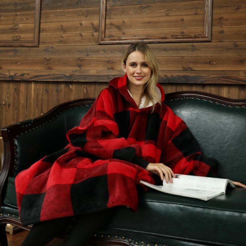 Зимнее одеяло с рукавами Главная Текстиль Женщины Негабарита с капюшоном Флис Теплые толстовки Толстовки Гигантский ТВ капуста халата на море