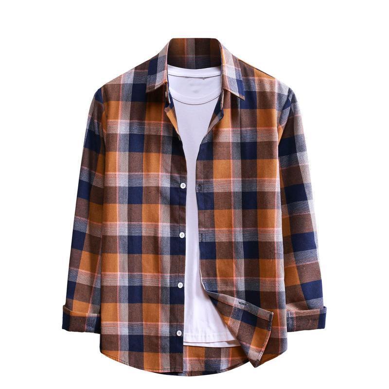 Мужские повседневные рубашки мода клетки для клетки с длинным рукавом с длинным рукавом.
