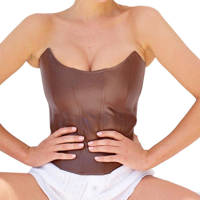 Moda Seksi Straplez PU Deri Kırpma Tops Kadın Kolsuz Kulübü Parti Backless Kahverengi Korse Üst Kırpılmış Giysi