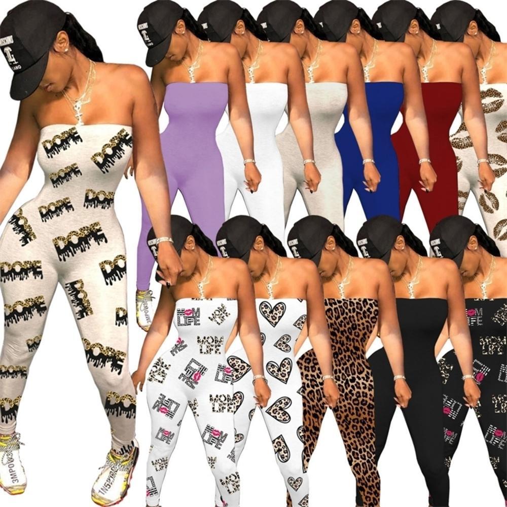 여성 민소매 점프 숄더 디자이너 슬림 사랑 패턴 문자 레오파드 인쇄 발렌타인 데이 숙녀 Rompers A125
