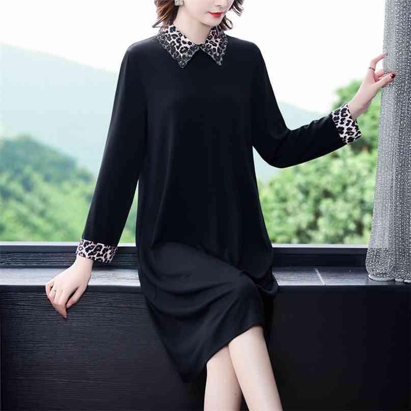 Casual Black Patchwork Leopard Midi Dress Frühling Vintage 4XL Plus Größe Frauen Elegante Bodycon Party Vestidos 210603