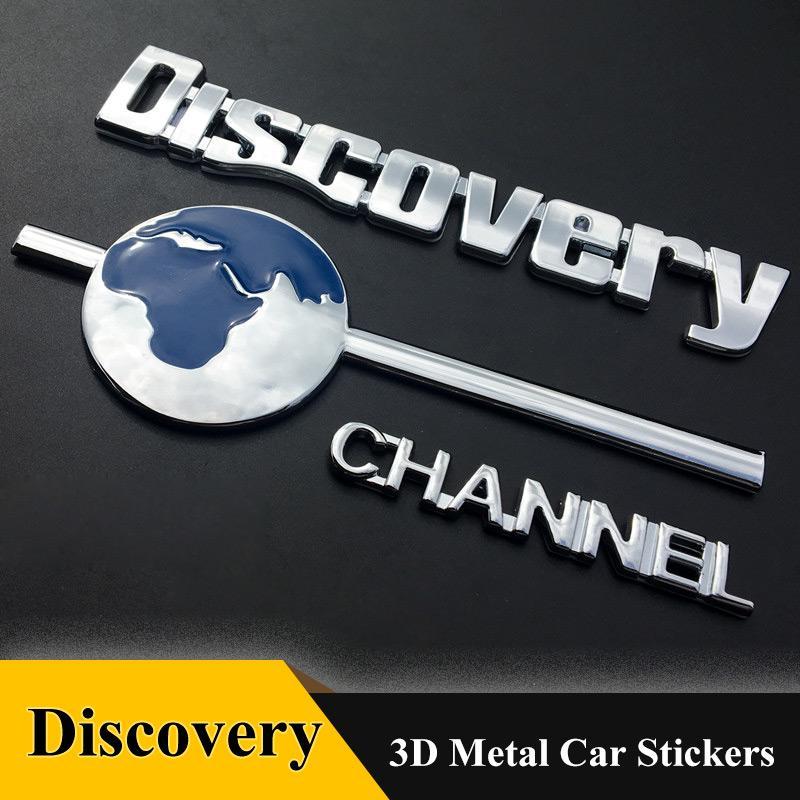 1pcs 3D 엠블럼 배지 발견 채널 스티커 데칼 크롬 자동차 스타일링 현대 아우디 BMW 벤츠 폭스 바겐 랜드 로버 기아