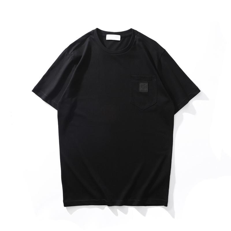 CP Topstoney 여름 남성용 T 셔츠 레저 간단한 배지 디자인 고품질 코튼 짧은 소매 패션 느슨한 톱 솔리드 컬러 포켓