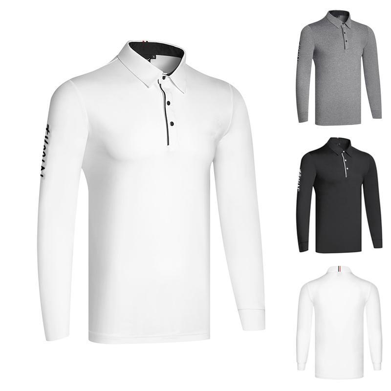 골프 의류 남성용 긴 소매 편안하고 통기성 폴로 셔츠 스포츠 피트니스 티셔츠