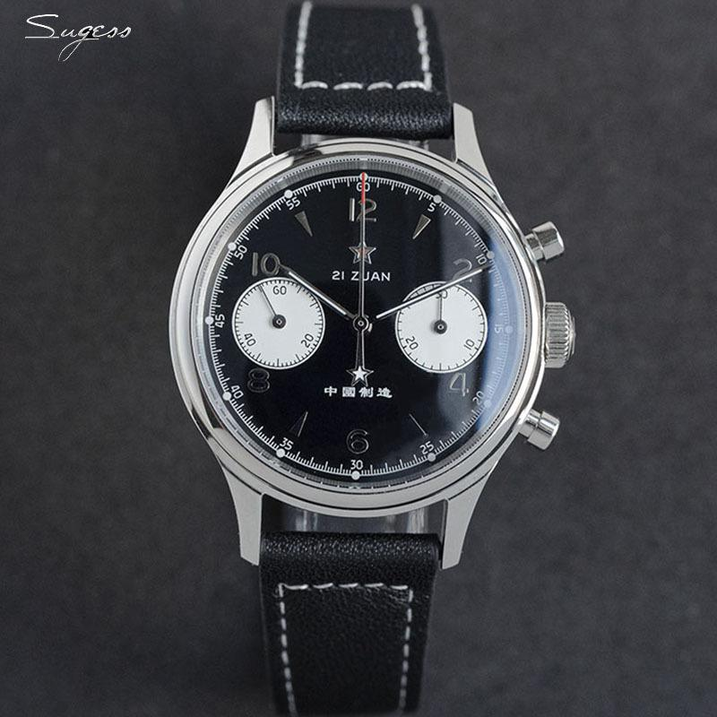 Sugess Mecanical Watch Men Seagull 1963 Movimiento ST19 Cronógrafo Sapphire Top Brand Luxury 50m Impermeable Edición limitada 2020 0217
