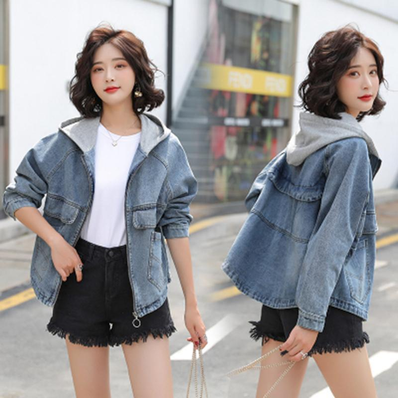 Henost marca mujer chaqueta otoño 2021 jean chaquetas para las mujeres ropa de mezclilla mangas largas con capucha con capucha Vogue estilo coreano