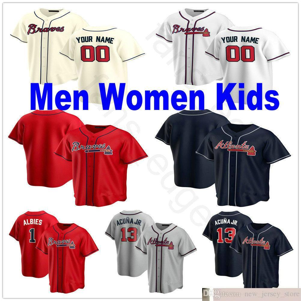 2020 nuevos hombres personalizados mujeres niños juventud 1 Ozzie Albes 5 Freddie Freeman 13 Ronald Acuna Jr. 22 Nick Markakis 23 Adam Duvall Jerseys de béisbol