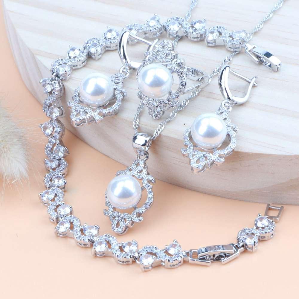 Frauen Pearl Schmuck Sets Silber 925 Damen Schmuck Hochzeit Kostüm Zirkonia Halskette Braut Anhänger Ring Ohrringe Armband Set