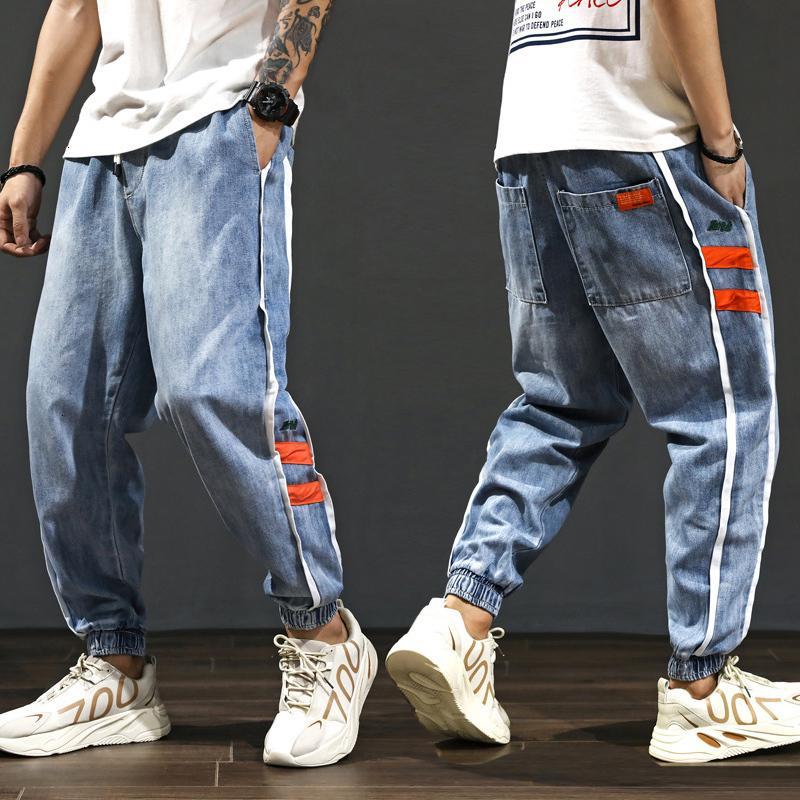 2021 Новые японские винтажные моды свободные подходящие полосу сращенные грузовые брюки дизайнерская уличная одежда хип-хоп джинсы мужчины гарем брюки E9ij