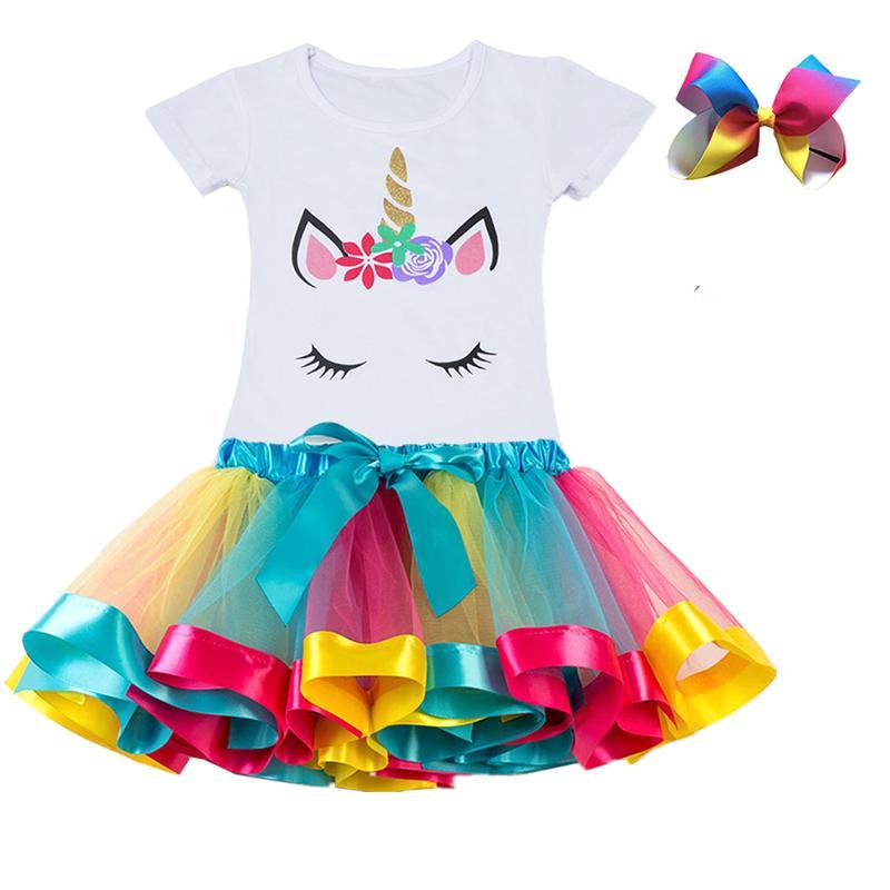 Устанавливает детские девушки одежда 2019 летняя принцесса вечеринка Unicorn красочная пачка детский баланс рождения платье