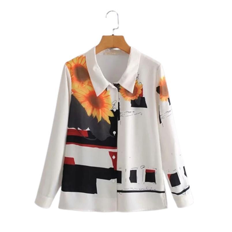 Donne vintage stampa camicia bianca chiffon bianco manica lunga primavera chic femmina sciolto per il pendolante Top 210531