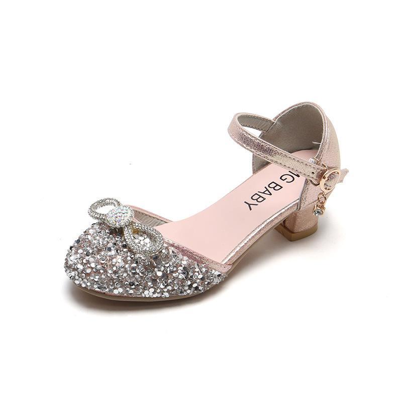 Kız Prenses Kore Versiyonu Çocuk Yüksek Topuklu Tek Ayakkabı Kristal 2021 CUHK Baotou Dans Sandalet Gelgit