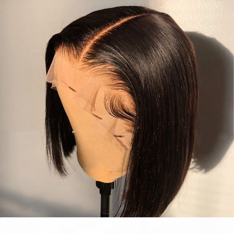 130% Curto Bob Peruca 13x4 Lace Front Human Human Wigs para mulheres Natural arrancado brasileiro Remy