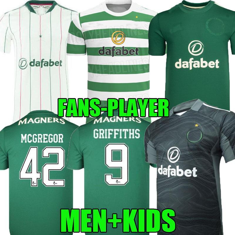 Fans Jogador Versão 21 22 22 Celtic Soccer Jerseys Home Away McGregor Griffiths 2021 2022 Forrest Christie Edouard Elyounouss Terceiro Homens Kits Kits Futebol Camisetas