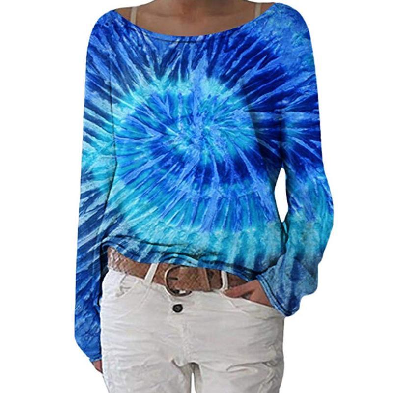 Camicette da donna camicie womoail donne primavera blu manica lunga manica lunga girocollo moda camicetta casual tunicazioni ruggular maglia pullover larghe