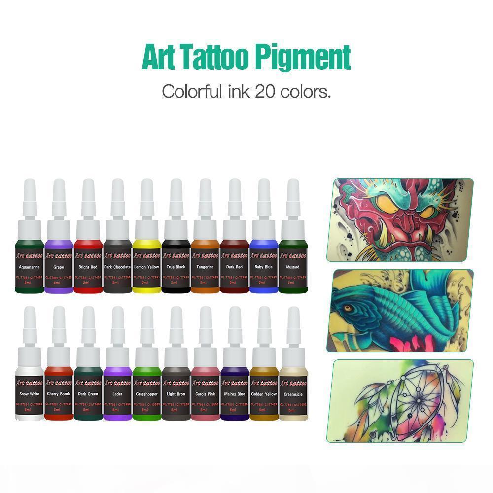 Komple Acemi Dövme Kiti 20 Renk Mürekkepleri Mini Dövme Güç Kaynağı Ucuz Dövme Kiti Seti Sapları İğneler İpuçları Sarf Malzemeleri Sıcak