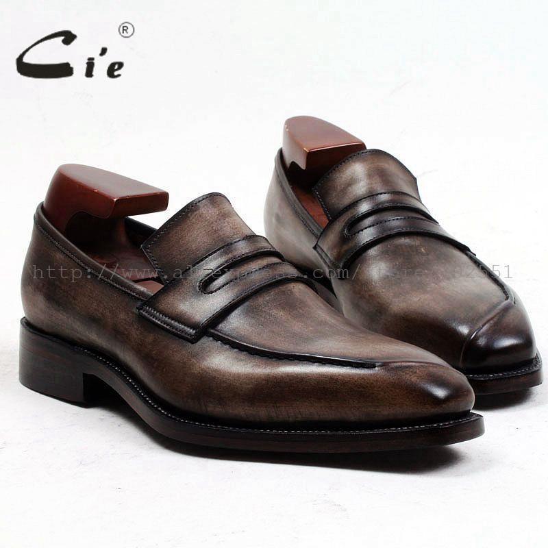 Kleid Schuhe CIE Quadratische Zehe maßgeschneiderte Männer Lederschuh benutzerdefinierte handgefertigte echte Wade Herren Slip-On Patina Brown Loafer Loafer91