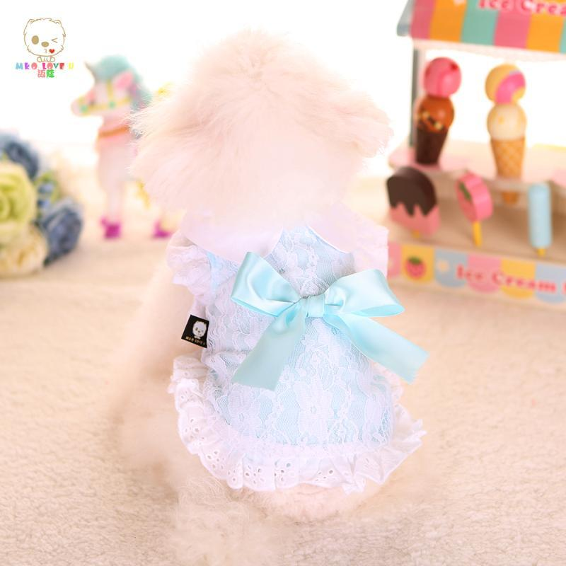 Dog Apparel Pet Clothes For Dogs And Cats Shirt With Lace Spting & Summer Coat Cat Vest Sweet Pink Bow Chihuahua YorkiesTeddy Clothing