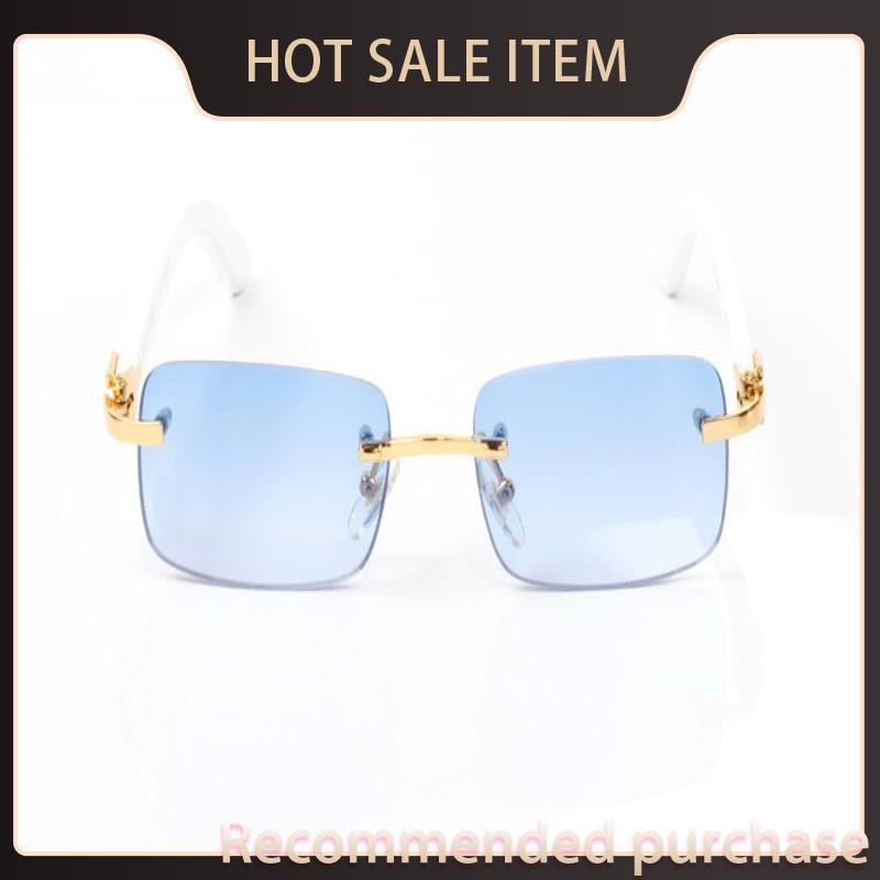 Diseñador Búfalo de gran tamaño JFWGC Naturaleza Lente transparente Blanco Francia Glasses DA Marca Cuerno Negro Gafas de sol Sombras Occhiali Sole Sole Bro STPR