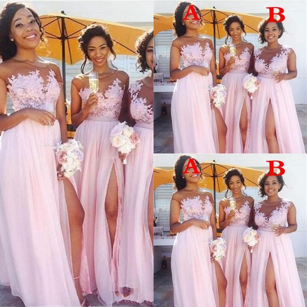 2021 campagna sexy a buon mercato arrossire rosa abiti da damigella d'onore pura gioiello collo di pizzo appliques damergia d'onore abiti spaccati abiti da sera formale abiti da sera