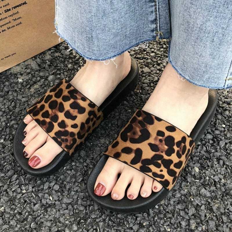 Summer Mujer zapatillas Flip Flops Plataforma Placa plana Leopardo Impresión al aire libre Playa Moda Slide Zapatos Zapatos de Mujer 33WX #