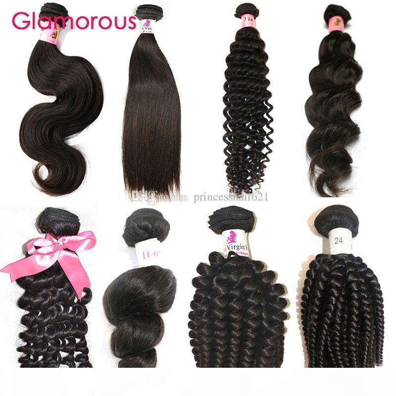 Glamoroso el cabello humano brasileño teje 1 unid onda recta ola profunda ola profunda ola natural de la ola humana extensión para las mujeres de África
