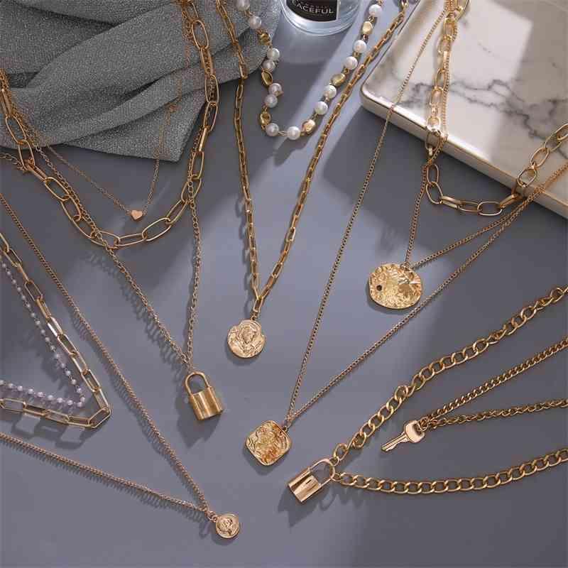 Fnio Vintage Multi Layered Damen Perle Runde Münze Gold Halsketten Böhmen Mode Lange Anhänger Halskette 2020 Schmuck